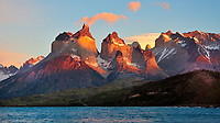 CHILE - National Park Torres del Paine<br /> Sunrise at Paine Grande and the Cuernos del Paine