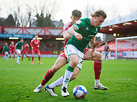 Lincoln City's Harry Anderson battles with Accrington Stanley's Cameron Burgess<br /> <br /> Photographer Andrew Vaughan/CameraSport<br /> <br /> The EFL Sky Bet League One - Accrington Stanley v Lincoln City - Saturday 21st November 2020 - Crown Ground - Accrington<br /> <br /> World Copyright © 2020 CameraSport. All rights reserved. 43 Linden Ave. Countesthorpe. Leicester. England. LE8 5PG - Tel: +44 (0) 116 277 4147 - admin@camerasport.com - www.camerasport.com