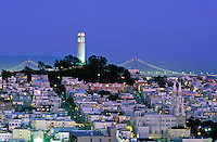 USA, California, San Francisco.  North Beach and the Coit Tower illuminated at night