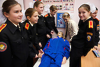 RUSSIA, Moscow, 10.2010. ©  Sergey Kozmin/EST&OST.The Moscow Girls Cadet Boarding School..Medical education is an important part of the school's program. The girls spend at least four hours a month in a class learning all types of first aid, including how to stop bleeding, applying bandages and mouth-to-mouth resuscitation.