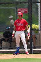 Philadelphia Phillies Leandro Pineda (2) bats during an Extended Spring Training game against the New York Yankees on June 22, 2021 at the Carpenter Complex in Clearwater, Florida. (Mike Janes/Four Seam Images)