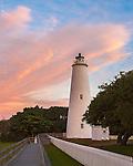 Cape Hatteras National Seashore, NC: Colorful sunrise at Ocracoke Island Lighthouse (1823) on Ocracoke Island