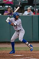 Stockton Ports designated hitter Jesus Lage (4) at bat during a California League game against the Visalia Rawhide at Visalia Recreation Ballpark on May 8, 2018 in Visalia, California. Stockton defeated Visalia 6-2. (Zachary Lucy/Four Seam Images)