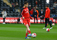Pedro Chirivella of Liverpool warms up during the Barclays Premier League match between Swansea City and Liverpool played at the Liberty Stadium, Swansea on 1st May 2016