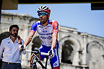 Thibaut Pinot (FRA) Groupama-FDJ at sign on before the start of Stage 16 of the 2019 Tour de France running 177km from Nimes to Nimes, France. 23rd July 2019.<br /> Picture: ASO/Pauline Ballet   Cyclefile<br /> All photos usage must carry mandatory copyright credit (© Cyclefile   ASO/Pauline Ballet)