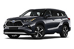 Stock pictures of low aggressive front three quarter view of 2021 Toyota Highlander Premium-Plus 5 Door SUV Low Aggressive