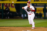 Ryan Jackson (23) of the Springfield Cardinals throws to first base during a game against the Frisco RoughRiders on April 14, 2011 at Hammons Field in Springfield, Missouri.  Photo By David Welker/Four Seam Images.