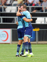 Garry Thompson of Wycombe Wanderers celebrates after scoring the equaliser with Luke O'Niel of Wycombe Wanderers  during the Friendly match between Maidenhead United and Wycombe Wanderers at York Road, Maidenhead, England on 30 July 2016. Photo by Alan  Stanford PRiME Media Images.