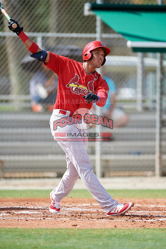 GCL Cardinals first baseman Dariel Gomez (34) follows through on a swing during a game against the GCL Mets on July 23, 2017 at Roger Dean Stadium Complex in Jupiter, Florida.  GCL Cardinals defeated the GCL Mets 5-3.  (Mike Janes/Four Seam Images)