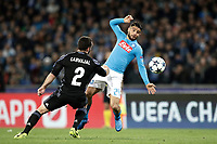 Football Soccer: UEFA Champions League Round of 16 second leg, Napoli-Real Madrid, San Paolo stadium, Naples, Italy, March 7, 2017. <br /> Napoli's Lorenzo Insigne (r) in action with Real Madrid's Daniel Carvajal (l) during the Champions League football soccer match between Napoli and Real Madrid at the San Paolo stadium, 7 March 2017. <br /> Real Madrid won 3-1 to reach the quarter-finals.<br /> UPDATE IMAGES PRESS/Isabella Bonotto