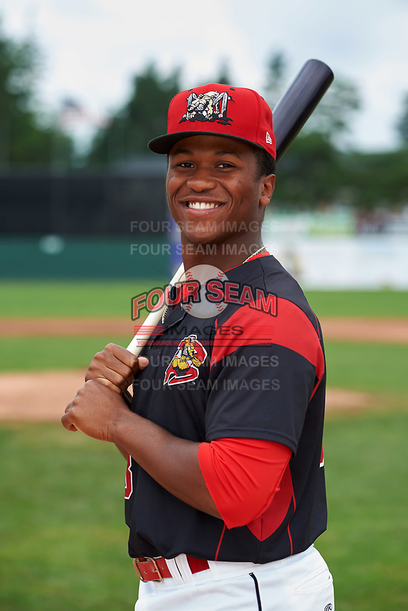 Batavia Muckdogs outfielder Terry Bennett (33) poses for a photo before a game against the Tri-City ValleyCats on July 15, 2017 at Dwyer Stadium in Batavia, New York.  Tri-City defeated Batavia 5-4.  (Mike Janes/Four Seam Images)