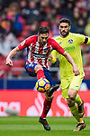 Jorge Resurreccion Merodio, Koke (L), of Atletico de Madrid battles for the ball with Jorge Molina Vidal of Getafe CF during the La Liga 2017-18 match between Atletico de Madrid and Getafe CF at Wanda Metropolitano on January 06 2018 in Madrid, Spain. Photo by Diego Gonzalez / Power Sport Images