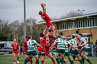 Rory Bartle of Jersey Reds during the Championship Cup QF match between Ealing Trailfinders and Jersey Reds at Castle Bar, West Ealing, England  on 22 February 2020. Photo by David Horn.