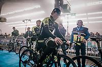 Michael Hepburn (AUS/Mitchelton-Scott) waiting for the pre-race team presentation in the legendary Kuipke Velodrome<br /> <br /> Omloop Het Nieuwsblad 2018<br /> Gent › Meerbeke: 196km (BELGIUM)