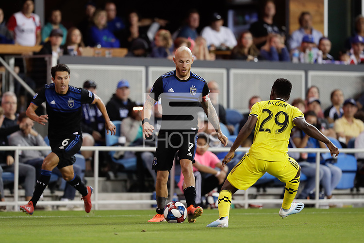 SAN JOSE, CA - AUGUST 03: Magnus Eriksson  during a Major League Soccer (MLS) match between the San Jose Earthquakes and the Columbus Crew on August 03, 2019 at Avaya Stadium in San Jose, California.