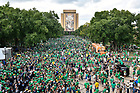 September 1, 2018; ; Players greet the crowd as they walk to Notre Dame Stadium before season opener against Michigan. (Photo by Barbara Johnston/University of Notre Dame)
