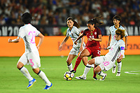 Carson, CA - Thursday August 03, 2017: Rumi Utsugi, Christen Press, Mizuho Sakaguchi during a 2017 Tournament of Nations match between the women's national teams of the United States (USA) and Japan (JPN) at the StubHub Center.