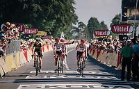 Koen de Kort (NED/Trek-Segafredo) & John Degenkolb (DEU/Trek-Segafredo) finishing up the Mûr de Bretagne while holding a Breton flag<br /> <br /> Stage 6: Brest > Mûr de Bretagne / Guerlédan (181km)<br /> <br /> 105th Tour de France 2018<br /> ©kramon