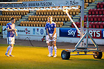 St Johnstone FC Photocall….2018/19 Season<br />Liam Craig, Brian Easton and Liam Gordon keeping warm under the pitch lights during the photocall<br />Picture by Graeme Hart.<br />Copyright Perthshire Picture Agency<br />Tel: 01738 623350  Mobile: 07990 594431