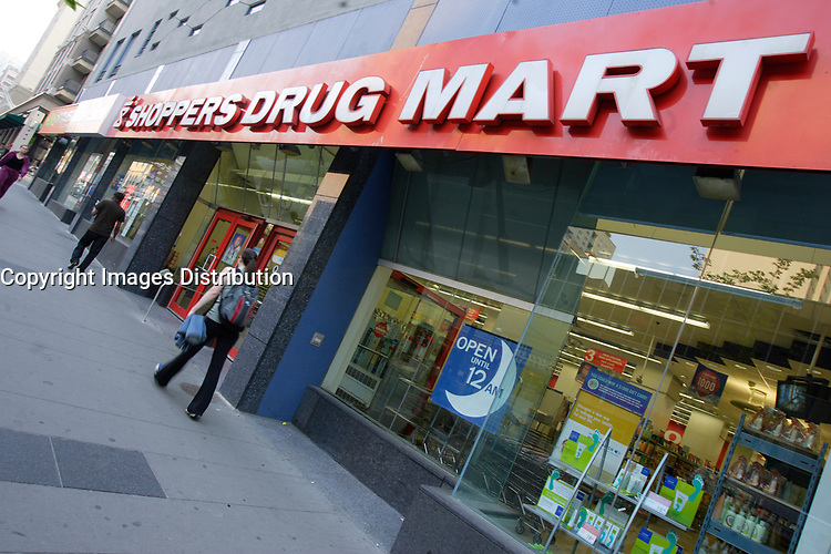 Shoppers Drug Mart, 24 hour pharmacy store on Yonge and College ( Carlton) street in Toronto.<br /> <br /> Shoppers Drug Mart Corporation TSX: SC is Canada's largest pharmacy chain with more than 1000 stores operating under the names Shoppers Drug Mart across 9 provinces and 2 territories and Pharmaprix in Quebec.<br /> <br /> The SuperPharm chain in Israel, Poland, and China, which was also founded by the Koffler family and uses the same logo and some of the same private-label brands, remains family-owned.<br /> <br /> Photo : Pierre Roussel - Images Distribution