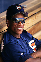Ricky Henderson of the San Diego Padres at Peoria Sports Complex in Peoria,Arizona during 1996 Spring Training. (Larry Goren/Four Seam Images)