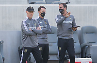 LOS ANGELES, CA - APRIL 17: Bob Bradley, Mike Sorber and Kenny Arena coaches of LAFC during a game between Austin FC and Los Angeles FC at Banc of California Stadium on April 17, 2021 in Los Angeles, California.