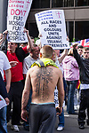 © Joel Goodman - 07973 332324 . 03/09/2011 . London , UK . An EDL supporter with a crusader tattoo on his back . The English Defence League hold a rally in Aldgate, near Tower Hamlets in East London. The group had intended to march however the Home Secretary banned all marches in the area. Photo credit : Joel Goodman