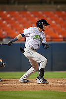 Lynchburg Hillcats shortstop Alexis Pantoja (6) hits a single during the second game of a doubleheader against the Frederick Keys on June 12, 2018 at Nymeo Field at Harry Grove Stadium in Frederick, Maryland.  Frederick defeated Lynchburg 8-1.  (Mike Janes/Four Seam Images)