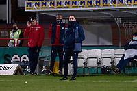 16th March 2021; Dens Park, Dundee, Scotland; Scottish Championship Football, Dundee FC versus Ayr United; Dundee manager James McPake masked up on the touchline