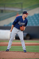 Mississippi Braves pitcher Jason Hursh (11) during a Southern League game against the Jackson Generals on July 23, 2019 at The Ballpark at Jackson in Jackson, Tennessee.  Mississippi defeated Jackson 1-0 in the second game of a doubleheader.  (Mike Janes/Four Seam Images)