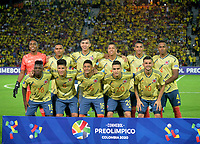 ARMENIA – COLOMBIA, 19-01-2020:Formación de Colombia ante Ecuador durante partido entre Colombia y Ecuador por la fecha 2, grupo A, del CONMEBOL Preolímpico Colombia 2020 jugado en el estadio Centenario de Armenia, Colombia. /  Team of Colombia agaisnt of  Ecuador during the match between Colombia and Ecuador for the date 2, group A, for the CONMEBOL Pre-Olympic Tournament Colombia 2020 played at Centenario stadium in Armenia, Colombia Colombia y Ecuador en partido de la fecha 2, grupo A, del CONMEBOL Preolímpico Colombia 2020 jugado en el estadio Centenario de Armenia, Colombia. / Colombia and Ecuador in match of the date 2, group A, for the CONMEBOL Pre-Olympic Tournament Colombia 2020 played at Centenario stadium in Armenia, Colombia. Photos: VizzorImage / Julian Medina / Cont