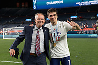 DENVER, CO - JUNE 6: USMNT celebrating their Nations League Final win over Mexico during a game between Mexico and USMNT at Mile High on June 6, 2021 in Denver, Colorado.