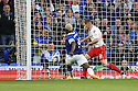 Arouna Kone of Everton shoots wide under pressure from David Gray of Stevenage<br />  - Everton v Stevenage - Capital One Cup Second Round - Goodison Park, Liverpool - 28th August, 2013<br />  © Kevin Coleman 2013