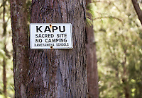 """Kapu, Sacred Site, No Camping"" sign posted on tree in Waipi'o Valley, Big Island."