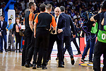 Real Madrid's coach Pablo Laso shake hands with the referees during Turkish Airlines Euroleague match between Real Madrid and Crvena Zvezda Mts Belgrade at Wizink Center in Madrid, Spain. March 10, 2017. (ALTERPHOTOS/BorjaB.Hojas)