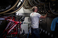 Lotto-Soudal mechanic Jean-Pierre Christiaens checking the tire pressure of all spare wheels in the truck ahead of Stage 14: San Vicente de la Barquer to Oviedo (188km)<br /> <br /> La Vuelta 2019<br /> <br /> ©kramon