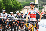 Polka Dot Jersey Matej Mohoric (SLO) Bahrain Victorious lines up for the start of Stage 8 of the 2021 Tour de France, running 150.8km from Oyonnax to Le Grand-Bornand, France. 3rd July 2021.  <br /> Picture: A.S.O./Charly Lopez | Cyclefile<br /> <br /> All photos usage must carry mandatory copyright credit (© Cyclefile | A.S.O./Charly Lopez)