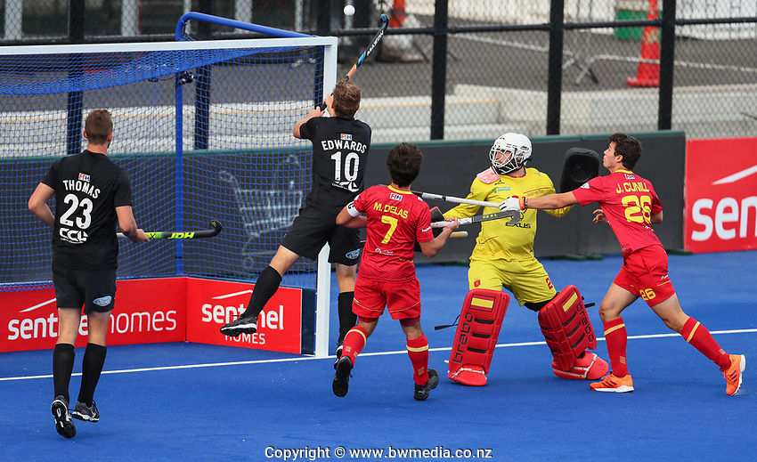 Steve Edwards scores during the Pro League Hockey match between the Blacksticks men and the Spain, Nga Punawai, Christchurch, New Zealand, Sunday 16 February 2020. Photo: Simon Watts/www.bwmedia.co.nz