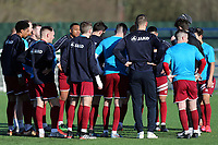 Chelmsford City players discuss tactics during the warm up during Aveley vs Chelmsford City, Buildbase FA Trophy Football at Parkside on 8th February 2020
