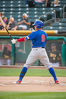 Javier Baez (9) of the Iowa Cubs at bat against the Salt Lake Bees in Pacific Coast League action at Smith's Ballpark on August 21, 2015 in Salt Lake City, Utah. The Bees defeated the Cubs 12-8.(Stephen Smith/Four Seam Images)