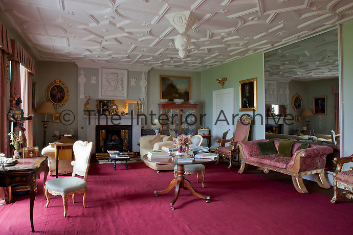 The drawing room, its early 17th century plasterwork ceiling remains from the days it was the High Hall
