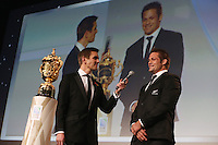 LONDON, ENGLAND - NOVEMBER 01:  Richie McCaw of New Zealand is interviewed by host Alex Payne during the World Rugby Awards 2015 at Battersea Evolution on November 1, 2015 in London, England.  (Photo: World Rugby)