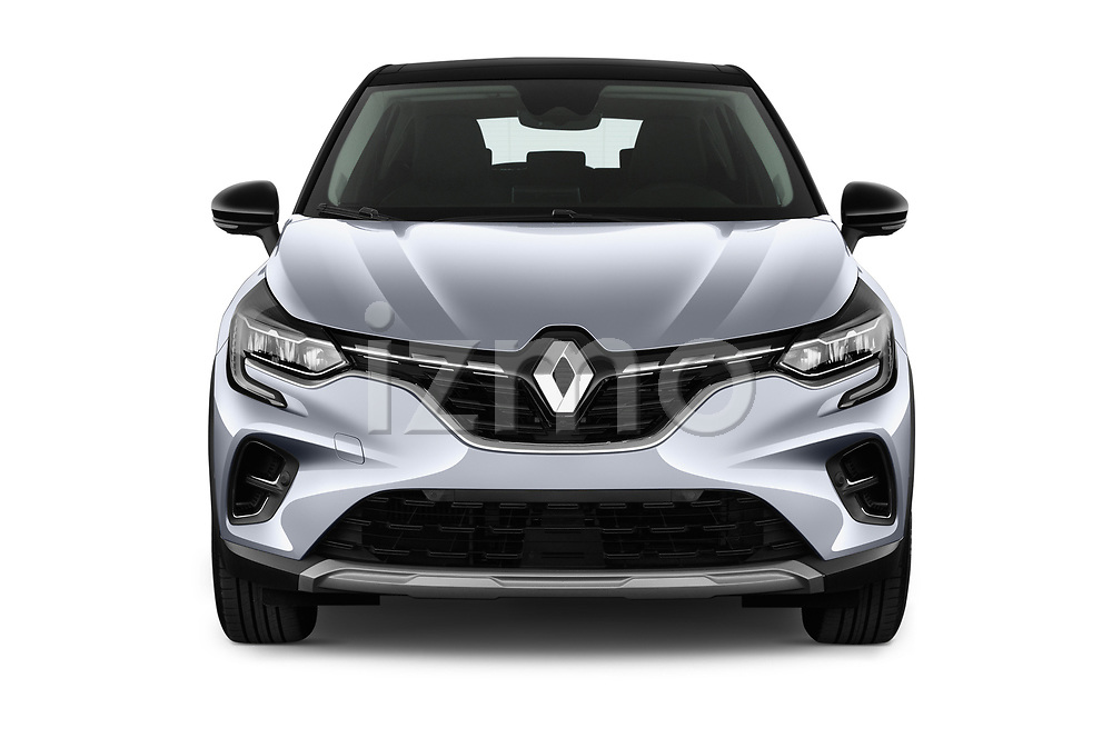 Car photography straight front view of a 2020 Renault Captur E-Tech-First 5 Door SUV Front View