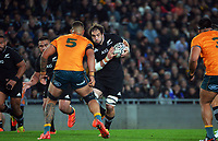 NZ captain Sam Whitelock takes the ball up during the Bledisloe Cup rugby match between the New Zealand All Blacks and Australia Wallabies at Eden Park in Auckland, New Zealand on Saturday, 7 August 2021. Photo: Dave Lintott / lintottphoto.co.nz