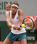 May 26,2016:   Teliana Pereira (BRA) loses the first set to Serena Williams (USA) 6-2, at the Roland Garros being played at Stade Roland Garros in Paris, .  ©Leslie Billman/Tennisclix
