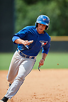 GCL Blue Jays center fielder Dominic Abbadessa (6) runs the bases during the second game of a doubleheader against the GCL Yankees East on July 24, 2017 at the Yankees Minor League Complex in Tampa, Florida.  GCL Yankees East defeated the GCL Blue Jays 6-3.  (Mike Janes/Four Seam Images)