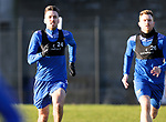 St Johnstone Training….Callum Booth and Liam Craig pictured during training at McDiarmid Park ahead of Sundays game against Celtic.<br />