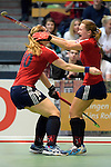 GER - Luebeck, Germany, February 06: During the 1. Bundesliga Damen indoor hockey semi final match at the Final 4 between Berliner HC (blue) and Duesseldorfer HC (red) on February 6, 2016 at Hansehalle Luebeck in Luebeck, Germany. Final score 1-3 (HT 0-1). (Photo by Dirk Markgraf / www.265-images.com) *** Local caption *** Darja Moellenberg #11 of Duesseldorfer HC celebrates after scoring, Carolin Wolf #10 of Duesseldorfer HC