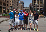 St Johnstone UEFA Cup Qualifyer, Armenia...01.07.15<br /> Saints fans pictured from left, Stuart Ebdy, Rory McCracken, Marc Malloy, Marc Wilson, Gavin Wilson, Gary Ebdy, Keri McCracken and Andy Malloy pictured in the Armenian capital Yerevan ahead of tomorrow nights game against Alashkert FC.<br /> Picture by Graeme Hart.<br /> Copyright Perthshire Picture Agency<br /> Tel: 01738 623350  Mobile: 07990 594431