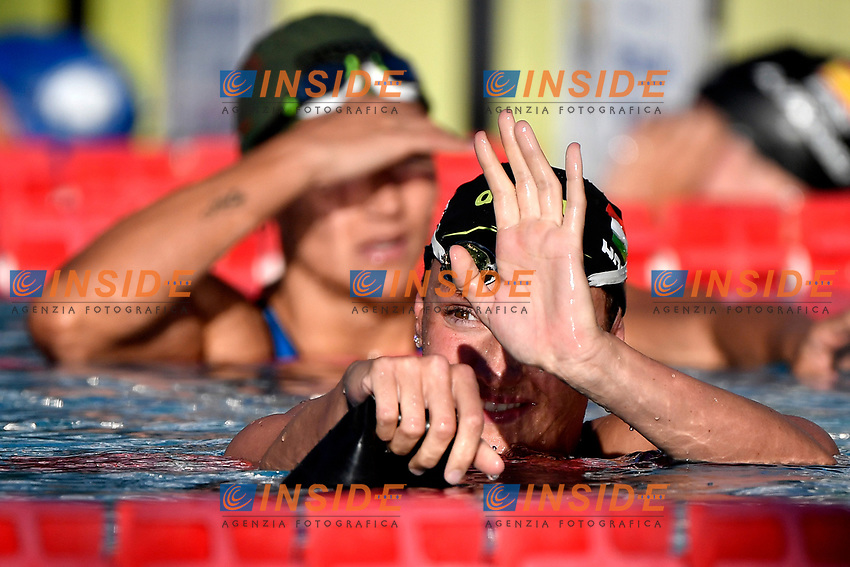Katinka Hosszu of Hungary reacts after compete in the women 400m Individual Medley during the 58th Sette Colli Trophy International Swimming Championships at Foro Italico in Rome, June 26th, 2021. Katinka Hosszu placed first.